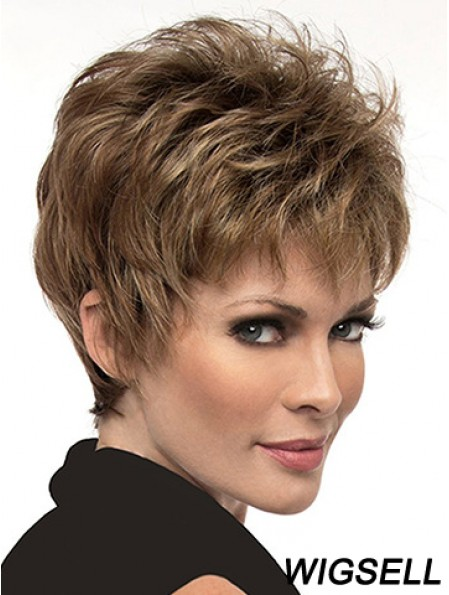 Natural 6 inch Straight Brown Boycuts Short Wigs