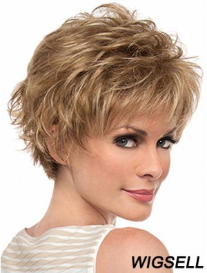 "Amazing 6"" Wavy Blonde Layered Short Wigs"