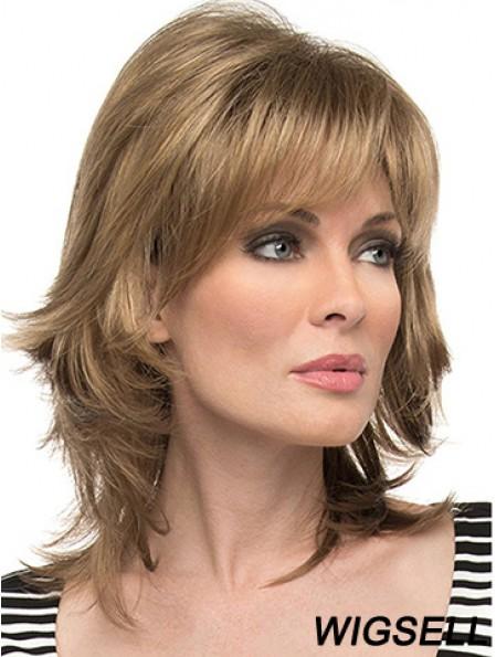 "Layered Brown Wavy Shoulder Length 14"" Cheap Medium Wigs"