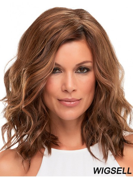 Without Bangs Wavy Monofilament Auburn 13 inch Cancer Wigs