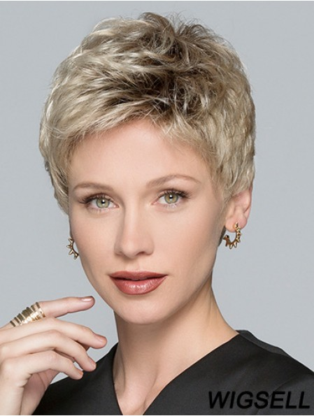Boycuts Blonde Synthetic Straight 3 inch Short Hair Wigs