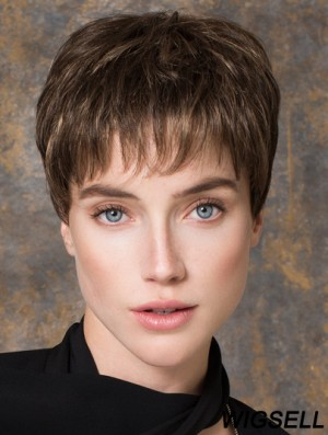 Brown Straight Monofilament Boycuts 5 inch Cheap Synthetic Wigs