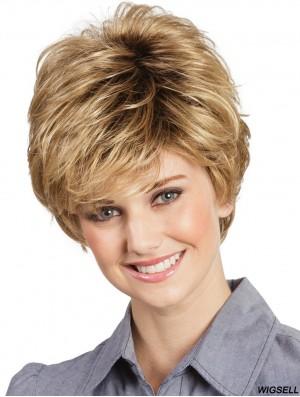 Boycuts Wavy Capless Blonde 8 inch Short Wigs For Women