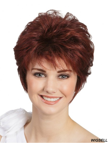 """Monofilament Red 8"""" Wavy Classic Wigs For People With Cancer"""