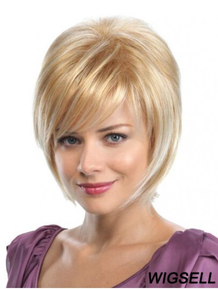Bobs Blonde Synthetic Straight 8 inch Medium Wigs