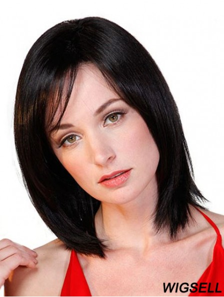 Black Bob Wig Monofilament Straight Hair Wig For Cancer