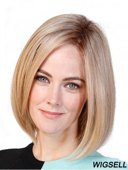 """Straight Bobs Blonde 11"""" Monofilament Cancer Patient Wigs"""