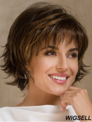 Synthetic Bobs Brown Wavy 9 inch Medium Wig