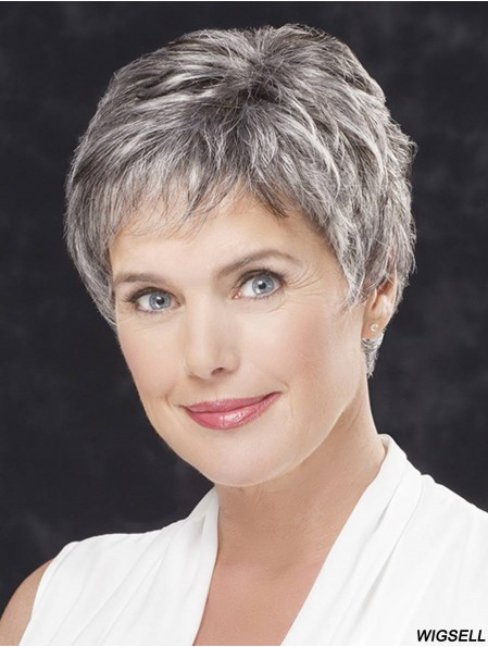 Cropped Wig Lace Front Grey Wig For Older Women 4 Inch
