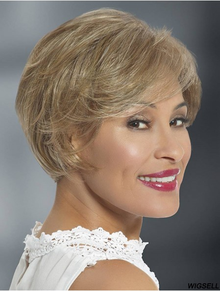 """Synthetic Blonde Layered Straight 6"""" Glueless Lace Wigs"""