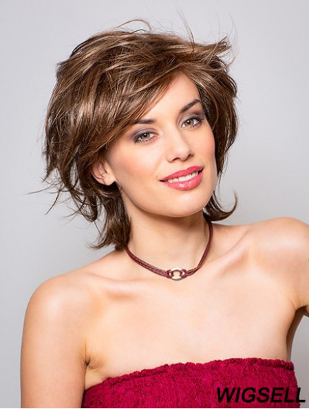 "Straight Brown 11"" Layered Synthetic Chin Length 100% Hand-tied Wig"