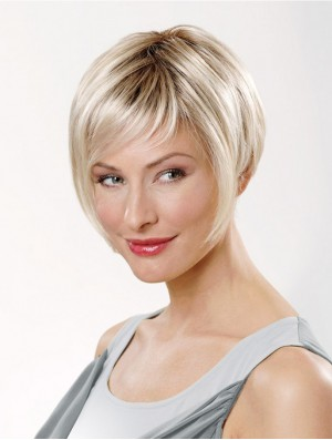 8 inch Straight Platinum Blonde Synthetic Short Capless Bob Wigs For Women
