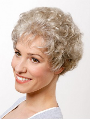 """Synthetic Curly Grey 8"""" Short Capless Classic Cut Wig"""