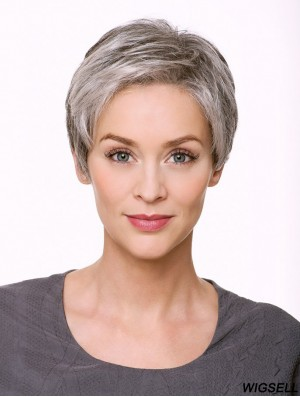 """Monofilament 5"""" Cropped Synthetic Straight Grey Wigs"""