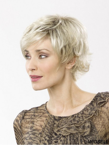 """Blonde Short Synthetic 8"""" Wavy Bobs Best Lace Wigs"""