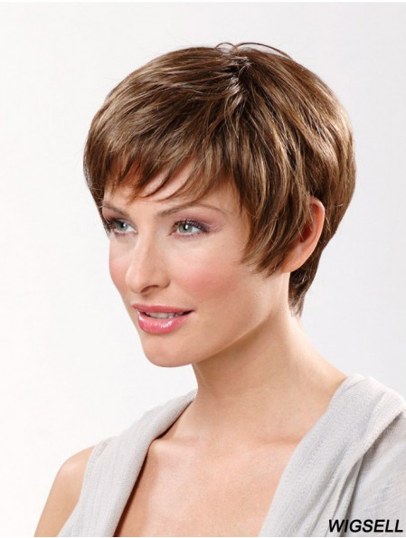 Brown Short Synthetic 8 inch Straight Boycuts Lace Frontal