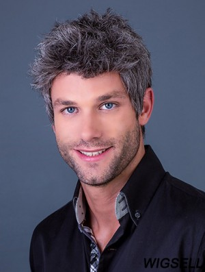 """4"""" Straight Monofilament Cropped Synthetic Grey Wig For Man"""