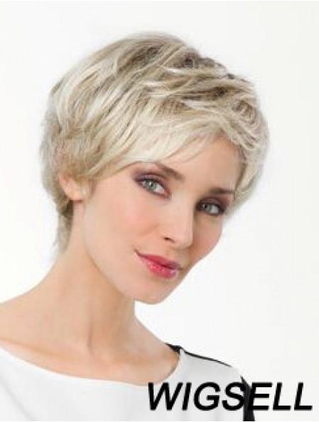 "Platinum Blonde Boycuts Short 8"" Straight Synthetic Monofilament Wig Sale"