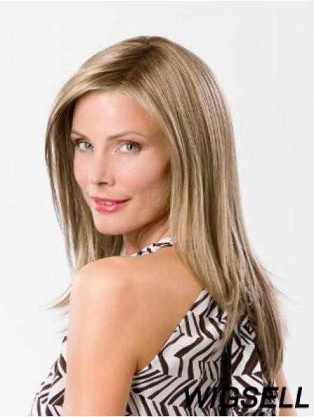 Blonde Without Bangs Long 14 inch Straight Synthetic Ladies Mono Wigs