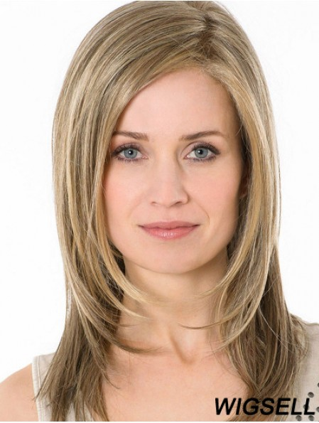 Blonde Without Bangs Long 14 inch Straight Synthetic Monofillament Wigs