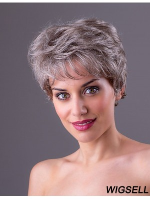 "Straight Grey 7"" Grey Synthetic Monofilament Short Ladies Wigs"