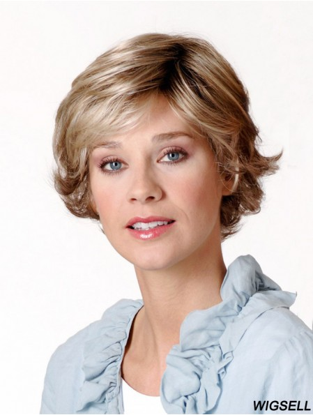 Synthetic Capless 8 inch Layered Wavy Blonde Short Ladies Wigs