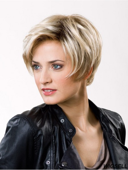 Straight Layered Lace Front 8 inch Blonde Short Good Synthetic Wigs