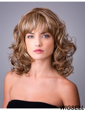 Synthetic Ombre/2 tone Curly 14 inch Capless With Bangs Long Hair Wigs