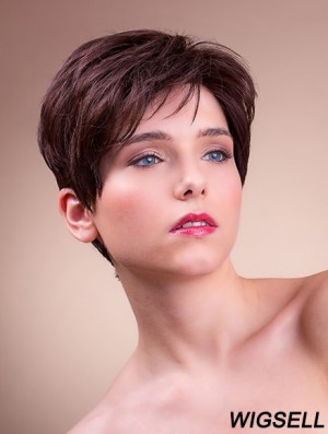 """Synthetic Monofilament 6"""" Boycuts Straight Brown Ladies Short Hairstyles"""