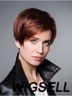 """Monofilament Synthetic 6"""" Cropped Straight Auburn Boycuts Wigs For Cancer Patients"""