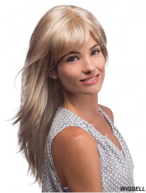 Long Blonde Wig With Bangs Affordable Synthetic Monofilament Wig UK