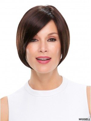Cropped Wig Monofilament Straight Wig Black Wig Without Bangs