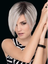 Grey 7 inch Straight Without Bangs Hand Tied Wigs