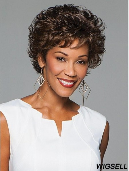 Curly Black Layered 6 inch Monofilament Wigs