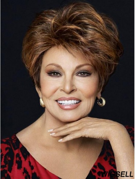Layered Short Brown 8 inch Monofilament Fanfare Raquel Welch Wigs