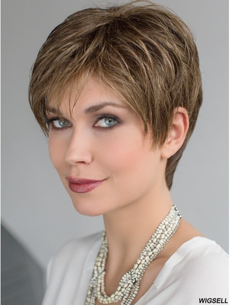 Blonde 4 inch Straight Boycuts Fully Hand Tied Wig