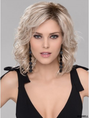 Platinum Blonde Mid Length Wig For Women Wavy Hair Trendy Style