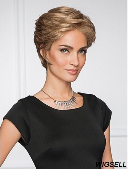 Straight Blonde Layered 4 inch Monofilament Part Wigs