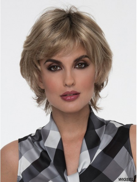 Blonde With Bangs Straight 8 inch Short Mono Filament Wigs