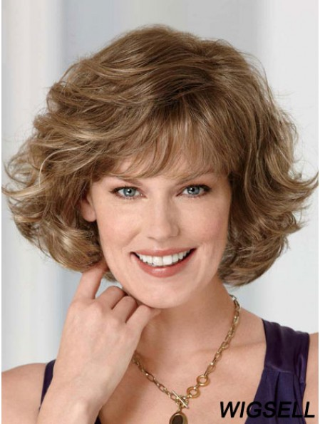 Synthetic Lace Front Wig Chin Length Brown Color With Bangs