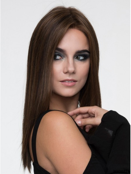 Brown Without Bangs Straight 15 inch Long Monofiloment Wigs