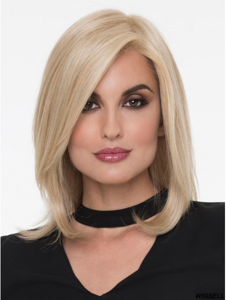 Blonde With Bangs Straight 13 inch Shoulder Length Wigs Online Monofilament