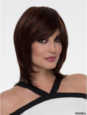 "Auburn With Bangs Straight 12"" Shoulder Length Cheap Monofibre Wigs"