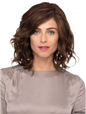 """Brown With Bangs Wavy 12"""" Shoulder Length Monofilament Ladies Wigs"""