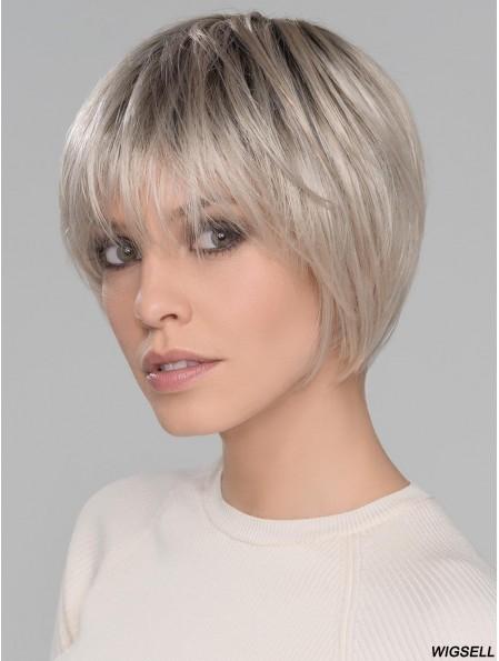 Platinum Blonde With Bangs Straight 6 inch Short Monofilamen Crown Wigs