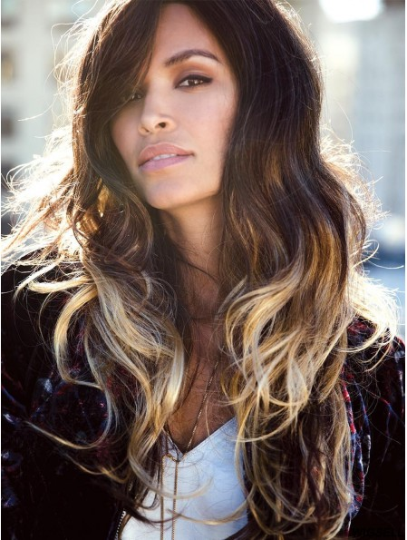 Ombre/2 tone 20 inch Wavy Layered 100% Hand-tied Wigs