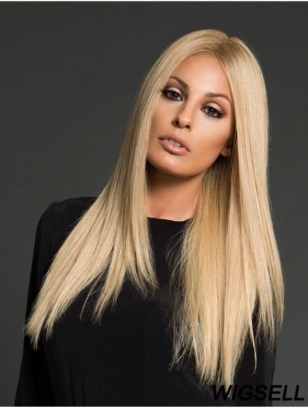 Human Hair Long Wig Hand Tied Straight Blond Wig UK
