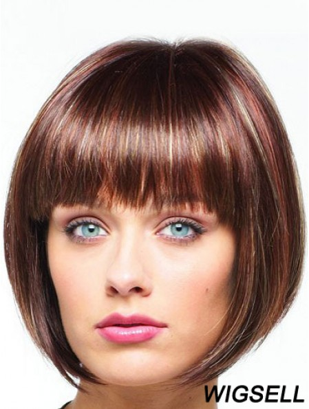 Wig Bob Chin Length With Lace Front Synthetic