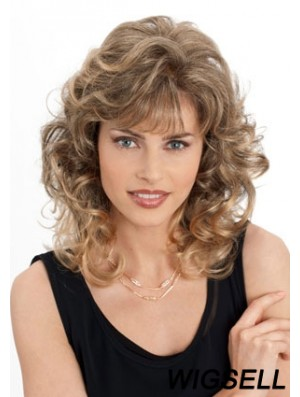 Cheap Monofilament Wigs With Bangs Wavy Style Blonde Color