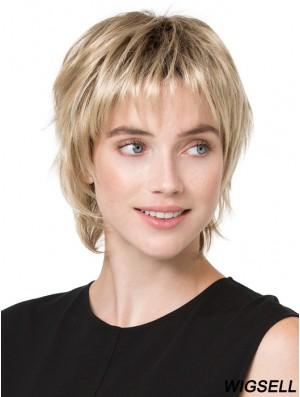 6 inch Convenient Straight Boycuts Blonde Short Wigs